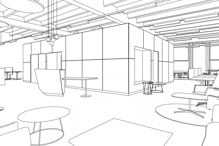 line art sketch office scene zoom rooms